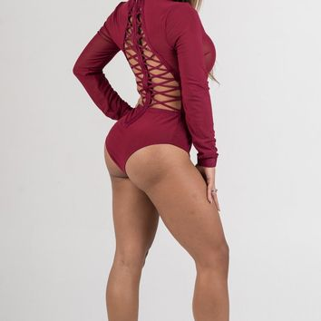 Wine Sheer Mesh Bodysuit