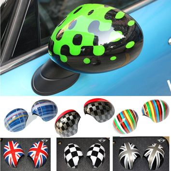 2pcs Colorful Door Rear View Mirror Covers Stickers Car-styling For BMW Mini Cooper One S JCW F54 F60 Countryman Accessories