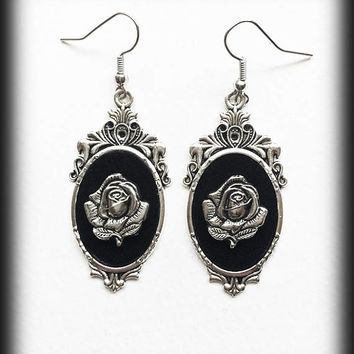 Gothic Rose Earrings, Victoria Rose Cameo Earrings, Gothic Earrings, Antique Silver, Gothic Jewelry, Alternative Jewelry, Gothic Gift