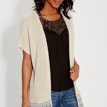 dolman cardigan with lace bottom hem | maurices