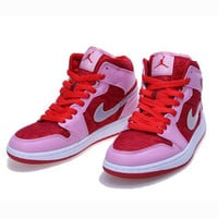 Nike Air Jordan Retro 1 High Tops Contrast Sports shoes Pink White hook G-CSXY