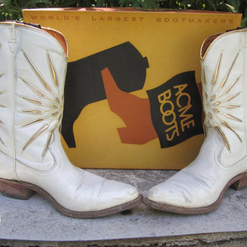1950s Ladies Acme Cowboy Boots White Gold Starbursts Cloth Pull Tabs 6 7
