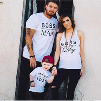 2016 New Family Boss Letter Print Shirt Cotton Tshirt Mother and Daughter Father Son Clothes Matching Shirt Kid Shirt Suitable for 2-16years Old [8833481868]
