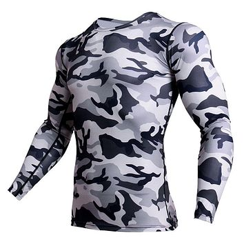 Rashgard Mens Sport Shirt Camo Slim Fit Crossfit Running T Shirt Men Soft Bodybuilding Workout GYM Compression Fitness Shirt Men