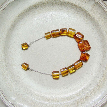 Open worry beads-mala with square shaped Baltic amber and sterling silver, Greek style begleri