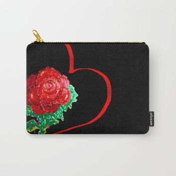 Heart of Rose Carry-All Pouch by ES Creative Designs