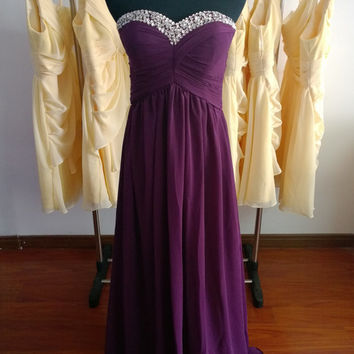 Strapless bridesmaid Dresses Long chiffon  prom Dresses  Evening Dresses Vintage chiffon  Hand made Dresses Plus size Dresses