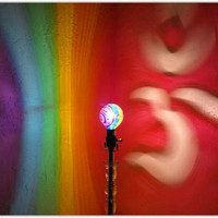 The ORIGINAL Hand-Painted Om (Aum) Rainbow Mood-Light Bulb 4 Color Therapy, Night Lights, Parties, Mood Lighting