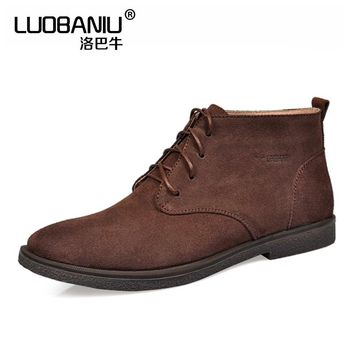 US SIZE 12 13 Nubuck Leather Casual Lace Up Desert Chukka Ankle Boots Mens Formal Dress Oxford Winter Cotton Shoes