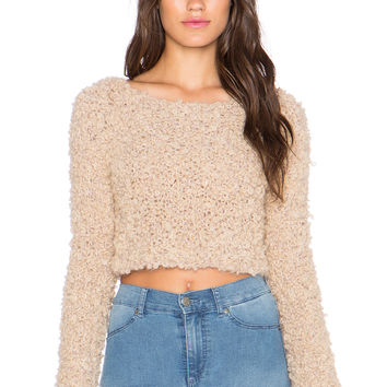AYNI Citrino Boucle Crop Sweater in Beige
