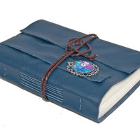Navy Blue Leather Journal with Owl Cameo Bookmark - Ready To Ship -