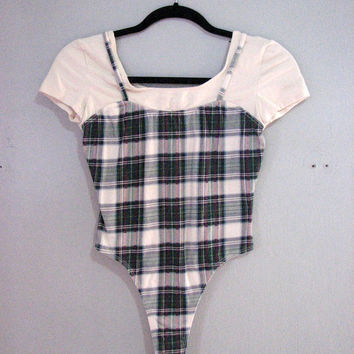 VINTAGE 90s BODYSUIT grunge PLAID illusion cami shirt - stretch jersey cotton thong cut - leotard ballet shapewear club kid raver punk fall