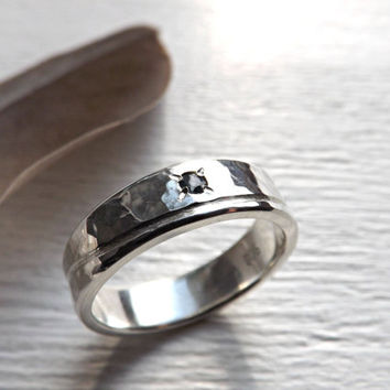 silver wedding band wave gemstone, personalized mens ring, wave ring silver engagement ring, mens wedding band, unique rustic silver ring