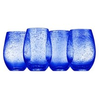 Artland® Iris Stemless Wine Glasses in Blue(Set of 4)