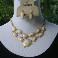 Cream Chunky Gold Rimmed Necklace & Earrings