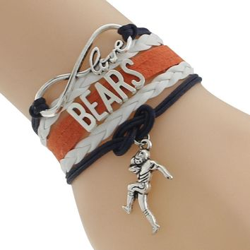 Infinity Love Chicago State Bears Football Team Bracelet Navy blue orange white Customize Sport friendship bracelets