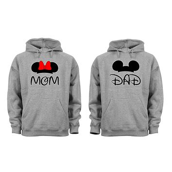 XtraFly Apparel Mom Dad Mommy Daddy Valentine's Matching Couples Hooded-Sweatshirt Pullover Hoodie