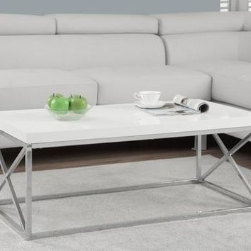 Glossy White / Chrome Metal Cocktail Table
