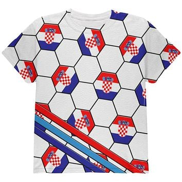 World Cup Croatia Soccer Ball All Over Youth T Shirt