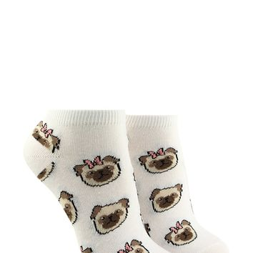 Bow Tie Pug Print Ankle Socks