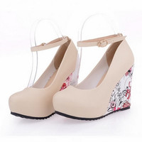 Ankle Strap Flower Print Wedges Platform Shoes