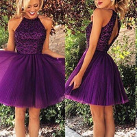 Custom Made Round Neck Short Purple Prom Dresses, Short Homecoming Dresses, Dresses For Prom
