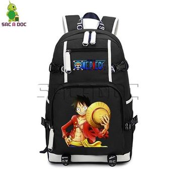 Anime Backpack School kawaii cute One Piece Backpack Canvas Backpack for Teenagers Boys Girls Luffy Chopper Printing School Bags Casual Travel Daypacks AT_60_4