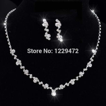 New Silver Tone Crystal Tennis Choker Necklace Earrings Set Wedding Bridal Bridesmaid African Jewelry Sets
