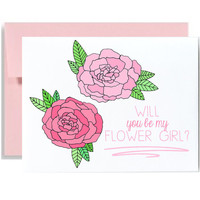 Will you be my flower girl greeting card pink flowers wedding invitation from bride to girl peonies flower girl invitation card