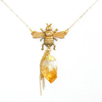 Raw Citrine Necklace with Brass Bee