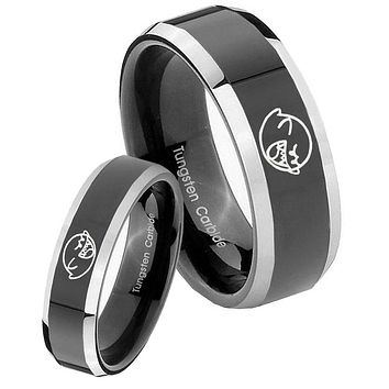 His Hers Shiny Black Bevel Mario Boo Ghost 2 Tone Tungsten Wedding Rings Set