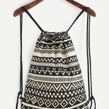 Tribal Backpack With Rope Strap