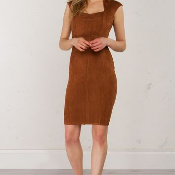 Suede Midi Dress in Taupe