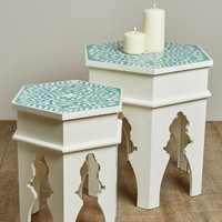 Bone Inlay Blue and White Table Large
