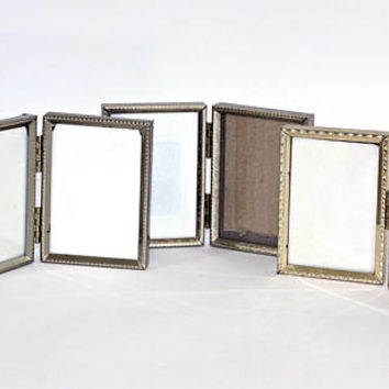 "Small Hinged Picture Frames with Glass | Wallet Snapshot Frames | Set 3 Vintage Double Frames 3.5"" x 2.5"" 