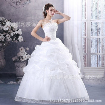 The latest style Wedding Dress Fashion Bridesmaid Dress Princess Dress bra Skirt Sexy slim Strapless skirt White Bride Wedding dress Full-length skirt