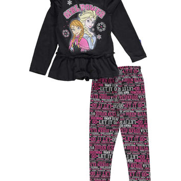 "Disney Frozen Little Girls' Toddler ""Girl Power"" 2-Piece Outfit (Sizes 2T – 4T)"