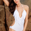 White Low Cut V-Neck One Piece Swimsuit with Fringe Detail