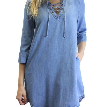 Dear John Enchanted Sky Noel Lace Up 3/4 Sleeve Dress