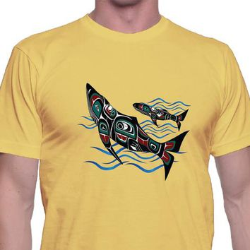 Whales Shirt, Unisex, Casual Shirt, Save the Whales, Pacific Northwest, Indian Art, Seattle Art, Whale Shirt, Trendy Tee, Indian Fishing