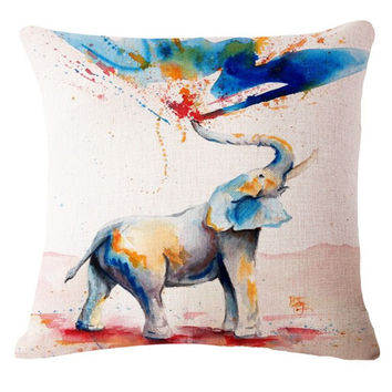 Cartoon Style Cotton Linen Cushion Lovel Elephant Print Bed Throw Pillowcase Home Decorative Square Fundas