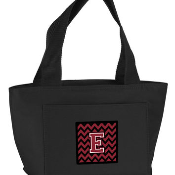 Letter E Chevron Garnet and Black  Lunch Bag CJ1052-EBK-8808