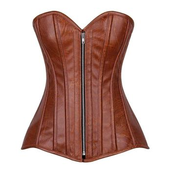 Daisy Corsets Top Drawer Distressed Brown Faux Leather Steel Boned Corset