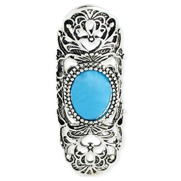 Scrolling Turquoise Stone Armor Ring