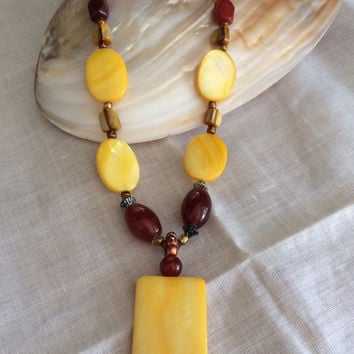 Mother of pearl carnelian necklace shell beads beaded necklace hand made original design necklace Mother's Day Easter excellent gift
