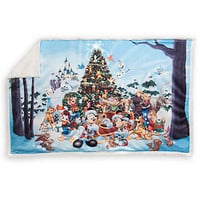 Disney Parks Storybook Mickey & Friends Holiday Fleece Throw New with Tags