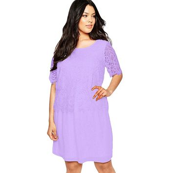 Lilac Eyelash Lace Overlay Chiffon Swing Dress