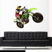 Full Color Wall Decal Mural Sticker Decor Art Poster Gift Dirty Bike Motocross Jump Motocycle Dirt Moto (col646