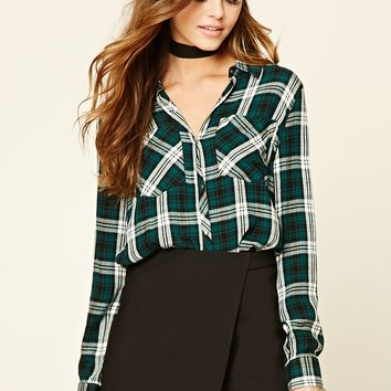 Snap-Button Plaid Shirt