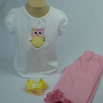 Owl Outfit by Mandy Lou {Yellow/Pink/White}